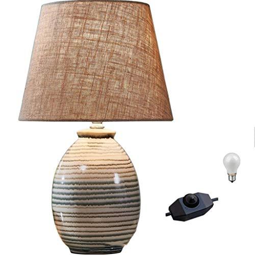 Lámpara mesa moderna cerámica rayas Pantalla tambor lino con interruptor giratorio regulable Lámpara mesa noche para dormitorio, sala estar oficina dormitorio universitario mesa centro estantería
