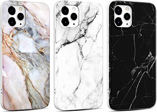 KARELIFE 2 unidades de carcasa de mármol para iPhone 7 Plus/iPhone 8 Plus, de silicona, mate, suave, resistente a los arañazos, flexible, carcasa fina, color negro y blanco