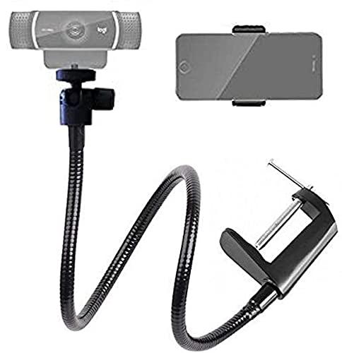 Tencro Support pour webcam - 66 cm - Réglable - Col de cygne - Pour tous les téléphones portables, Gopro et Logitech Webcam C925e, C922, C930e, C930, C920, C615, etc. - Filetage 6,35 mm