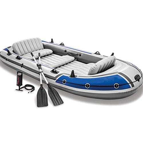 LXDDP Canotaje Inflable para 5 Personas en Kayak Pesca a la Deriva, Bote ensanchado, PVC Engrosado, Canoa Aventura 168 * 366 * 43 cm, con paletas aleación Aluminio y Bomba Aire Alto Rendimiento