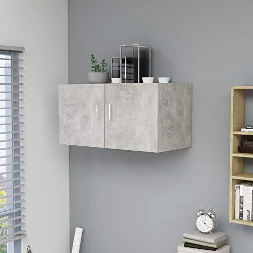 UnfadeMemory Wandschrank Hängeschrank Spanplatte Wandhängeschrank Wandmontage Schrank Wohnzimmer Badezimmer Aufbewahrungsschrank 80x39x40cm (Betongrau)