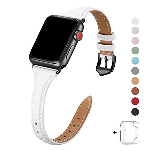WFEAGL Leather Bands Compatible with Apple Watch 38mm 40mm 42mm 44mm,Top Grain Leather Band Slim & Thin Replacement Wristband for iWatch Series 5 & Series 4/3/2/1 (White Band+Black Adapter, 38mm 40mm)