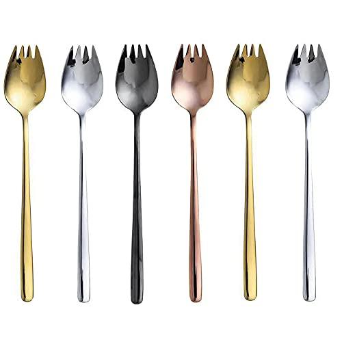 Tenedores para Ostras, 6 Piezas De Acero Inoxidable De Doble Propósito Largo Tenedor Cuchara Hogar Pastel Tenedor Ensalada De Frutas Tenedor