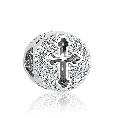 Korliya - Abalorio para pulsera (plata de ley 925, diseño de cruz con dios, todas las cosas son posibles)