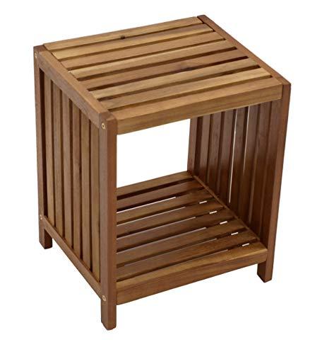 DEGAMO Beistelltisch Manaus 36x32cm, Holz Akazie Geölt, Für Innen Und Aussen