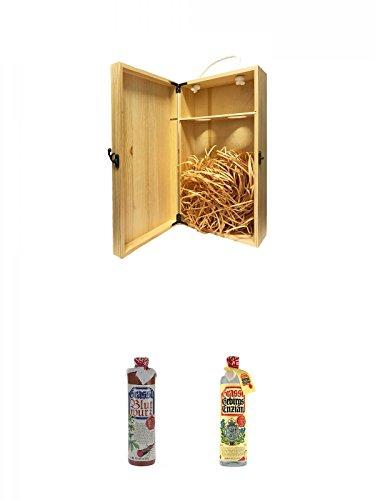 1a Whisky Holzbox für 2 Flaschen mit Hakenverschluss + Grassl Blutwurz Kräuterlikör Deutschland 0,7 Liter + Grassl Gebirgsenzian Deutschland 0,7 Liter