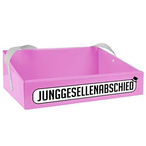 """Bauchladen mit Aufdruck """"Junggesellenabschied"""" (als Aufkleber) in Farbe Rosa für den JGA der Männer"""