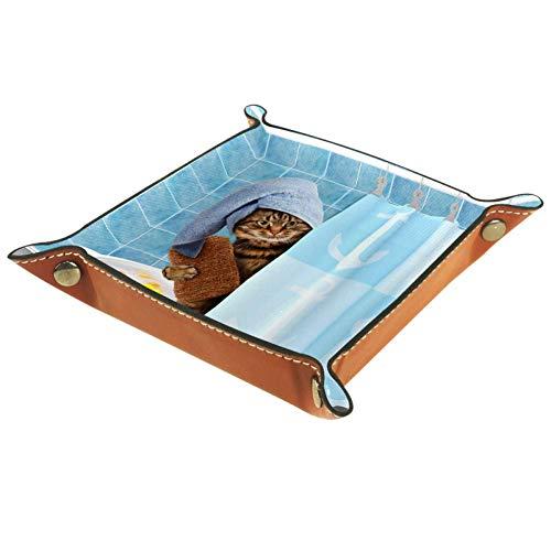 Gato en el bañera Pequeña Caja De Almacenamiento De Cuero Caja De...
