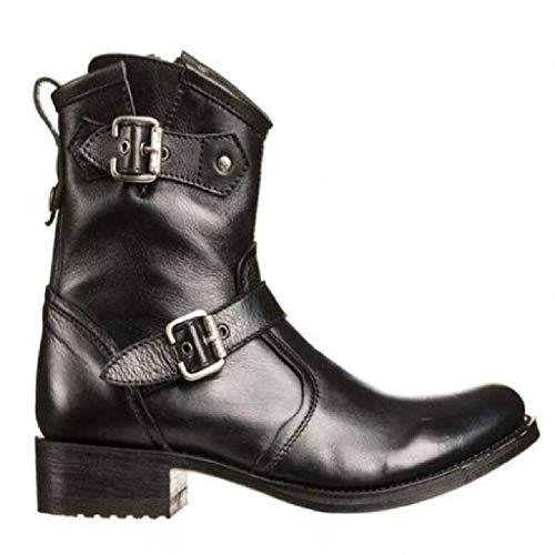 Botas Altas para Hombre Botines De Caballero De Tacón Bajo Estilo Vaquero Occidental Trabajo De Oficina Al Aire Libre Zapatos De Cuero Botas De Motociclista Informal,Black-40
