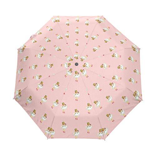 LUPINZ 3 Faltbarer Regenschirm Ballerina Cartoon Balletttänzerin Mädchen rosa Muster windabweisend Winddicht faltbar Reise-Regenschirm