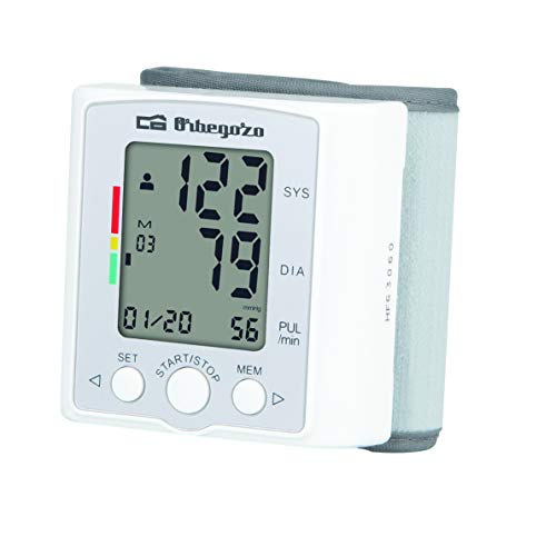 Orbegozo TES 3650 - Tensiómetro de muñeca, medición automática inteligente, muestra la media de las 3 últimas lecturas, detección de latido irregular
