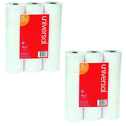 Universal : Single-Ply Adding Machine/Calculator Rolls, 16lb, 2-1/4' x 150 ft, White, 12/PK -:- Sold as 2 Packs of - 12 - / - Total of 24 Each