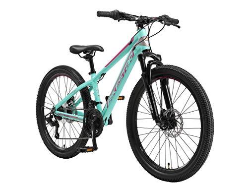 BIKESTAR MTB Mountain Bike 24' Alluminio per Bambini 10-13 Anni | Bicicletta Telaio 12.5 Pollici 21 velocità Shimano, Hardtail, Freni a Disco, sospensioni | Turchese