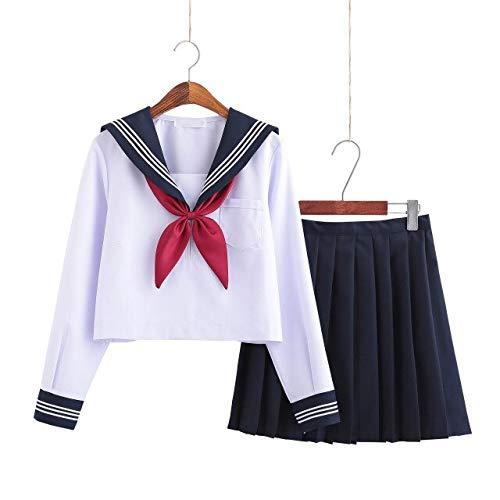 CLJ-LJ - Uniforme da studentessa bianca, classe giapponese, marinaio, divise scolastiche, per studenti, per ragazze, anime, COS, marinaio, colore 1, taglia L