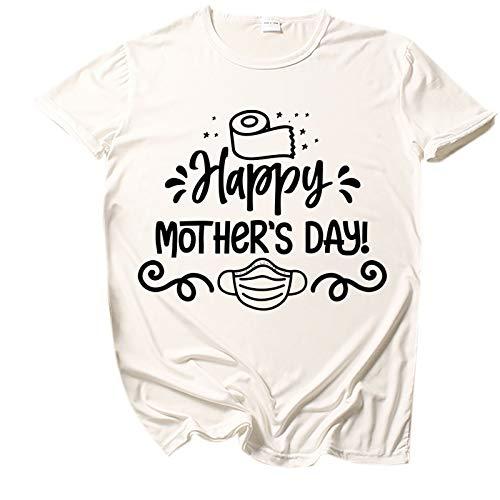 Camisa de Manga Corta con Cuello Redondo y Estampado Feliz del día de la Madre de la Moda para Mujer,Ropa de Salón para Damas Ropa Informal de Primavera y Verano,, XXL,White