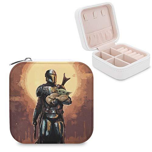 Star Wars - Joyero mandaloriano de piel sintética, portátil, para collar, pendientes, pulseras, anillos, relojes, caja de almacenamiento para mujeres