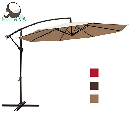 COBANA 10 Ft Patio Cantilever Offset Market Hanging Outdoor Umbrella with Crank Lift & Cross Base, Beige