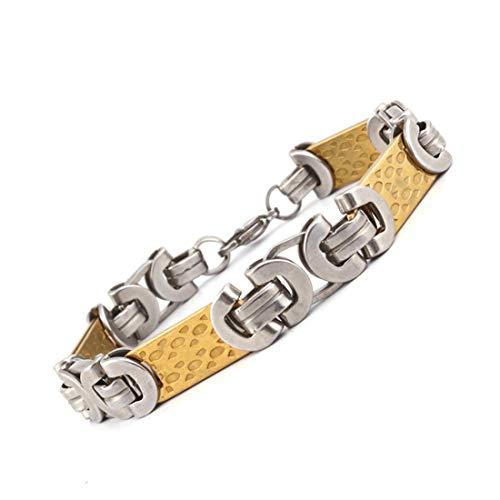 AllRing Pulsera de cadena de acero inoxidable para hombre, cadena de bicicleta de acero inoxidable, pulido brillante, brazalete rock, joya para hombre, hombre, regalo para hombres y jóvenes.