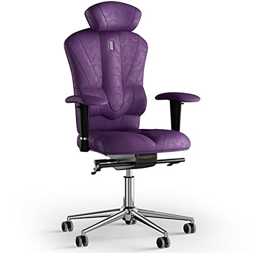 KULIK SYSTEM Victory - Silla de escritorio para ordenador con respaldo y cojín de asiento ergonómico patentado, silla de oficina ergonómica - Tela (Antara - Violeta)