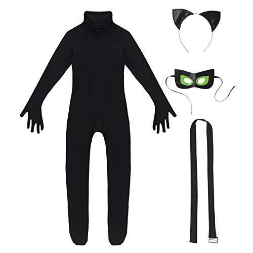 YiZYiF Vestito Costume Maschera di Carnevale Bambini Unisex Chat Noir Gatto Nero 4 Pcs Costume per Cosplay Vestito Tuta Avventure di Chat Noir per Halloween Travestimento Nero 7-8Anni