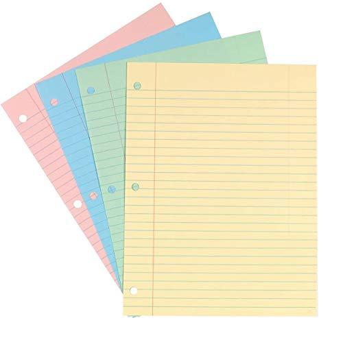 """1InTheOffice Wide Filler Paper, Loose Leaf Binder Paper, Pastel, 8""""W x 10.5""""H, 100/Pack"""