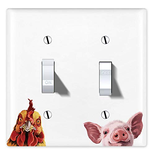 WIRESTER Double Gang Toggle Light Switch Plate/Wall Plate Cover - Cochin Chicken Baby Pig