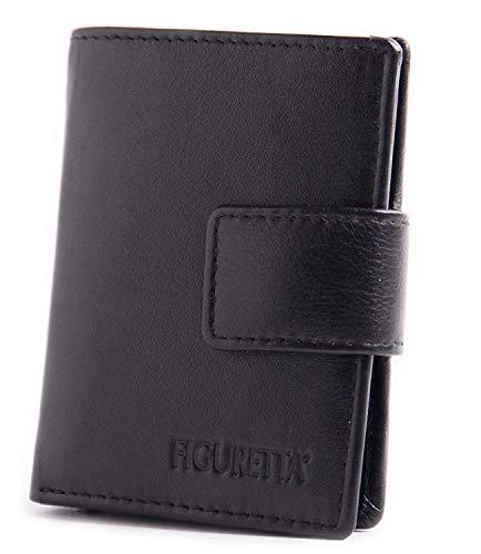 Figuretta RFID Leder Kartenetui mit Aluminium Hardcase Geldbörse Portemonnaie LD, Farbe:Black