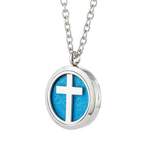 Jenia Medaillon für ätherische Öle, Parfüm, Halskette, Aromatherapie, Edelstahl, Kreuz-Magnet-Medaillon