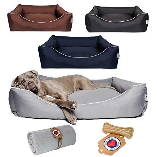 Tante Hilde Norderney Hundebett Waschbar Robust Größen & Farbauswahl Erstklassige Qualität Hundekorb Hundekissen für kleine, mittlere und große Hunde! (XL 120 x 90 cm Hundebett + Decke, Grau)