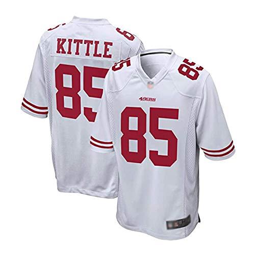 MEIBAO Americano Rugby Jersey, George Kittle # 85 San Francisco 49ers Bordada del Jersey del Fútbol Americano, La Camiseta De Fútbol para Mujeres De Los Hombres White-XL