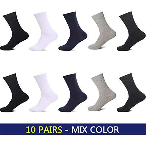 Witou Hombre del algodón de los Hombres a estrenar Calcetines Negro Blanco de Negocios Ocasionales Respirables Rayas de Doble Aguja Macho Long Calcetines, Comodidad y Ocio