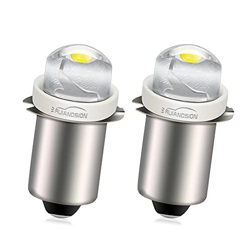 Ruiandsion 2 bombillas LED P13.5S de 6 V 0,5 W, blanco 6000 K, linterna de luz LED, no polar, ajuste tanto tierra negativa como tierra positiva