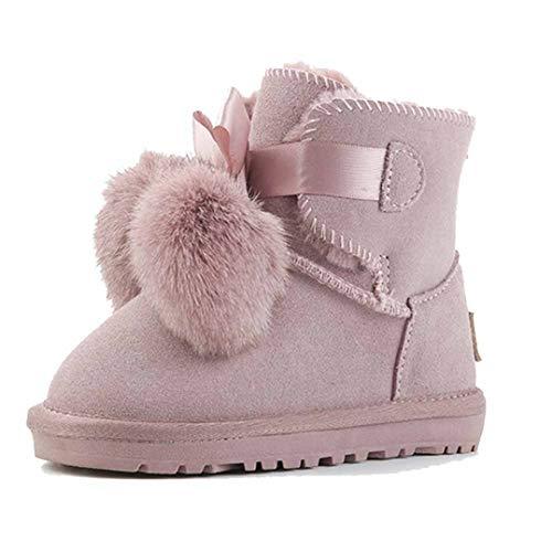 Niños Botas de Nieve Cuero otoño e Invierno en los niños Grandes más Terciopelo Antideslizante Zapatos de algodón cálido Lindo Piel Bola Arco Princesa Botas de algodón bebé Zapatos de niño pequeño