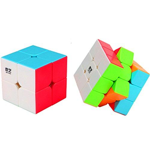 CuberSpeed Speedcubing Bundle QiYi Warrior W 3x3 Stickerless with Qiyi Qidi s 2x2 Speed Cube