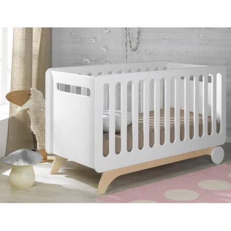 Alfred & Compagnie Lit évolutif bébé 70x140 blanc/bouleau Victoire