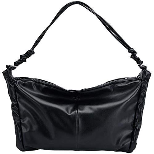 BeniBolsa de gran capacidad femenina nueva moda de verano simple soporte de hombro-negro