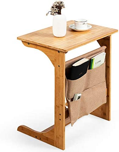 Tangkula Bamboo Sofa Side Table Snack End Table Laptop Desk w Storage Bag C Shaped Bed Side product image