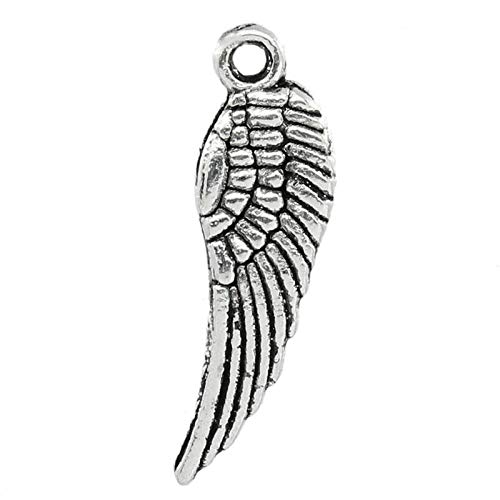 Angel Wings Charms, 95 Pc Tiny Silver Tone 5/8 inch