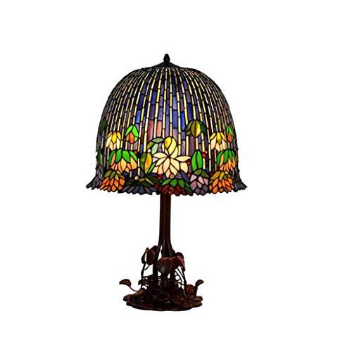 Tiffany-Stil - Lámpara de escritorio (18 pulgadas, E27), diseño de luna de colores