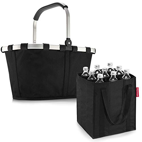 reisenthel Set Carrybag plus farblich passender bottlebag Einkaufskorb Einkaufstasche (Black)