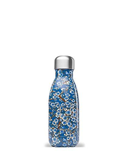 QWETCH QD3177 thermosfles, bloemenmotief, 260 ml, blauw