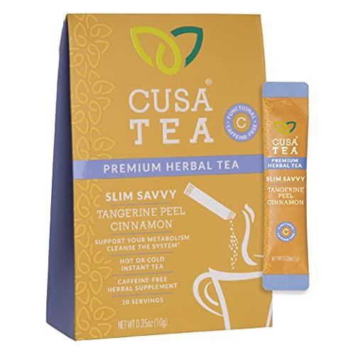 Cusa Tea: Slim Savvy Herbal Tea - Caffeine Free - Tangerine Peel & Cinnamon for Detox, Metabolism Support - No Sugar, Artificial Flavors - Ready in Seconds - Hot or Iced Tea (10 Servings)