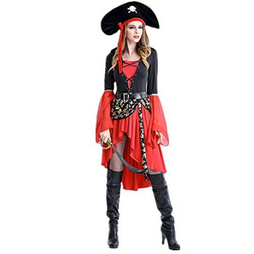 1-1 Fiesta de Disfraces de Halloween Pirata de Las Mujeres para la Fiesta de Disfraces Cosplay (Sombrero, Vestido, el cinturón) Talla Grande,Red-L