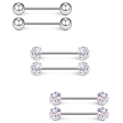 8pcs Acrylic Ball Nipple Tongue Shield Ring Barbell Body Piercing Jewelry