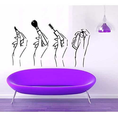 Schoonheid Salon Vinyl Muursticker Vrouw Meisje Handen make-up Lippenstift Parfum Mural Muursticker Nagel Shop Nagel Bar Room Decoratie 84X48CM