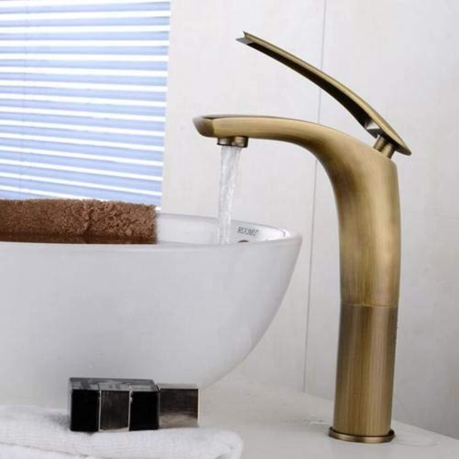 Decorry Antique Bronze Bathroom Sink Faucet Crane Mixer Tap Single Handle Vessel Sink Mixer Tall Hot and Cold Tap,Tall Faucet