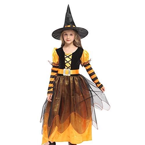 GIFT TOWER 3er Hexenkostüm Mädchen Langarm Hexenkleid Kinder Halloween Kostüm für Halloween Karneval Fasching Cosplay Orange XL/Länge 109cm