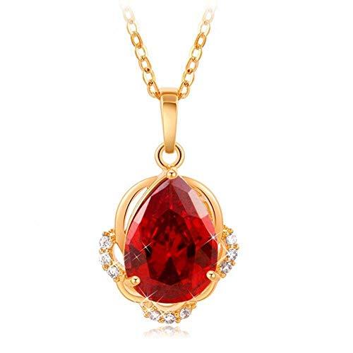 Collana con zirconi da donna, ciondolo con pietra a forma di goccia, tono oro con catena intrecciata da 18 pollici, collana classica