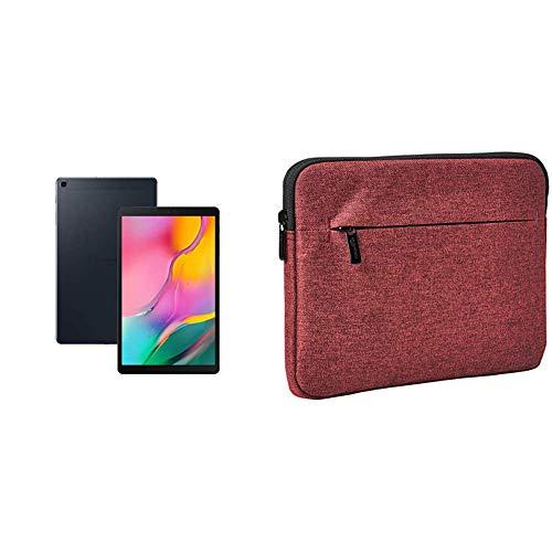 Samsung Galaxy Tab A 10.1-Inch 32 GB Wi-Fi - Black (UK Version) & Amazon Basics Tablet Sleeve with Front Pocket, 10' (25.4 cm), Maroon