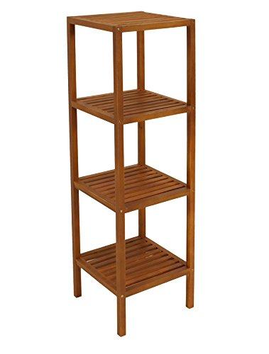 DEGAMO Holzregal 35x35x118cm mit Vier Ebenen aus Akazie, Innen und Außen